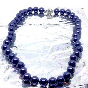 RARE NATURAL NAVY BLUE SOUTH SEA PEARL NECKLACE
